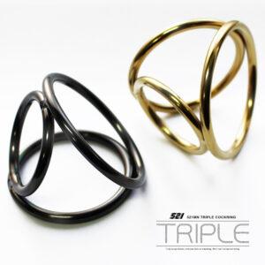 3連リング ブラック&ゴールド